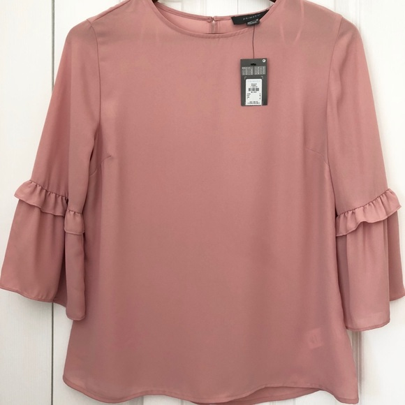 6a072d338bbd51 Primark Blush Blouse 3/4 Bell Sleeve Pink NWT. M_5b6378a3f4145224916808f1